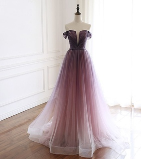 off the shoulder dress, gradient color dress and tulle dress