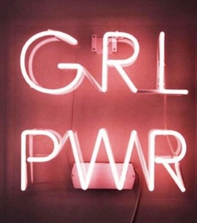 pink, grl pwr and sign