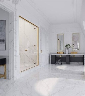 white, apartment and gold