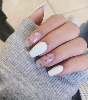 acrylics, clear nail and cute