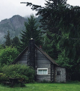 cabin, forest and mountains