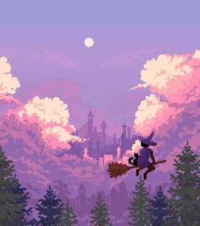 sky, pixel art and 8-bit
