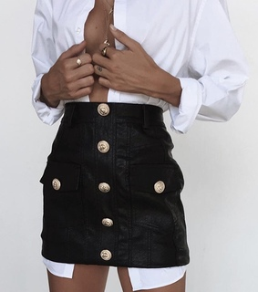 buttons, fashion and black skirt