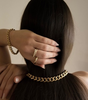 brunette, fashion and gold