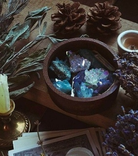 Witches, candle and crystals