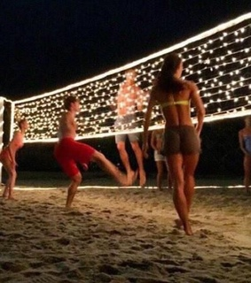 player, night and volleyball