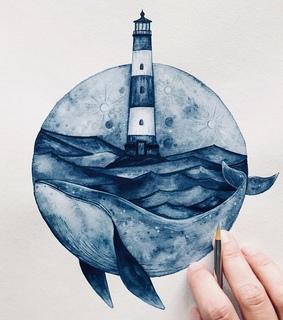 whale, beautyful and drawing