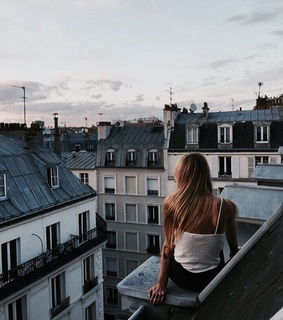 blonde, buildings and girl