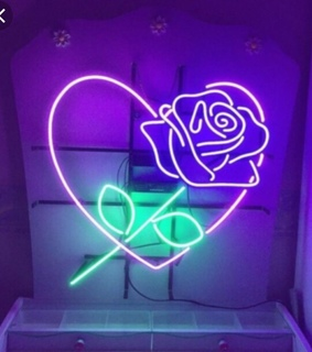 neon, neon signs and roses