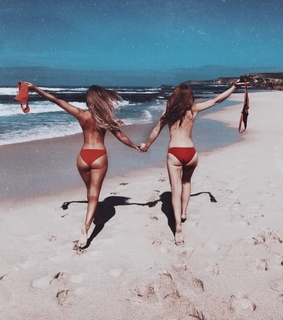 beach, bff and friends