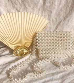 gold, fan and beads