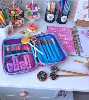 school supplies, decor and writing