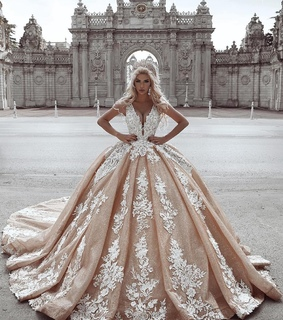 lace, ball gown and wedding dress