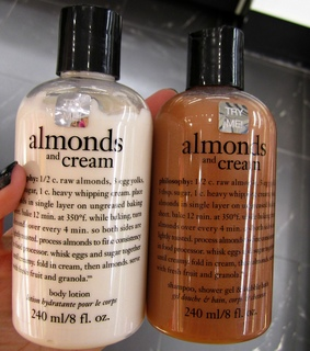 almonds and cream, beauty and body lotion