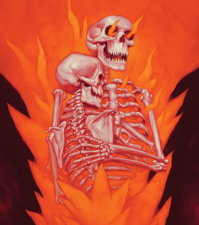 flames, art and skeleton