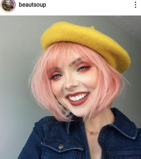 french beret, pink hair and hair color