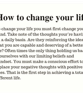 change your life, positive thoughts and self love