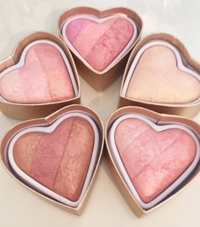 Brushes, blush and hearts