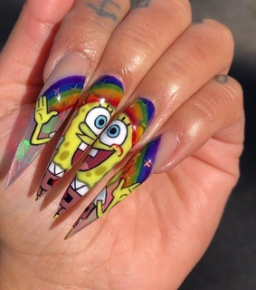 cute nails, claws and spongebob