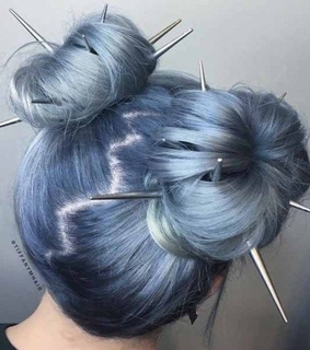 buns, blue hair and hairstyles