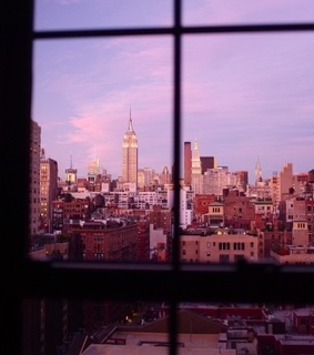 sunset, window view and skyline