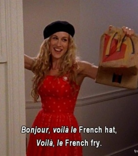 Carrie Bradshaw, black hat and bonjour