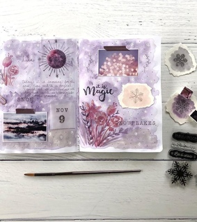 flowers, purple and watercolor