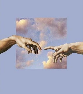 clouds, touch and fingers