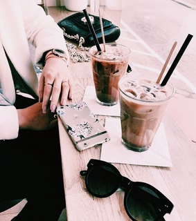aesthetic, lunch and iced coffee