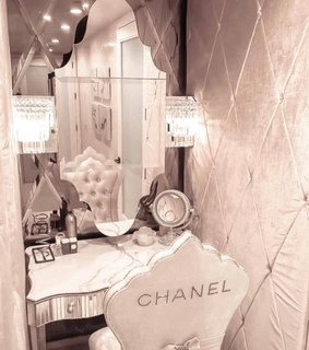 chanel, cosmetic cosmetics and mirror
