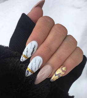marble, foil nails and gold