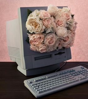 computer, flower and vintage