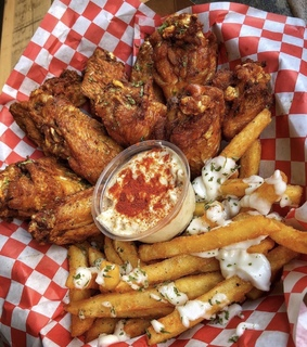 French Fries, red and wings