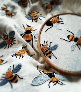 embroidery, bees and art