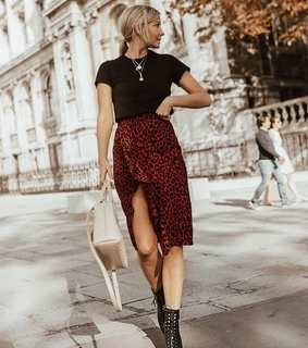 red, skirt and print