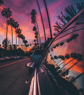purple, car and highway