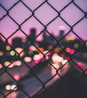 black, evening and fence