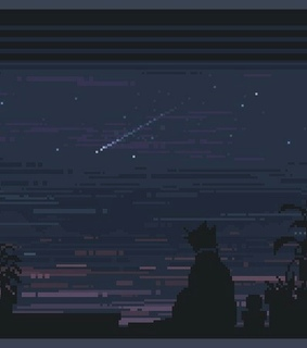 stars, pixel art and cat