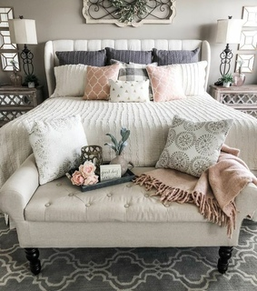 farmhouse, beautiful bedroom and blush pink