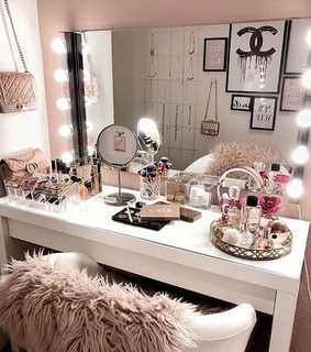 make up, decor and bedroom