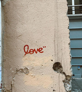 love, street art and concrete wall