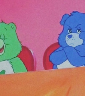 care bears, green and blue
