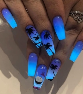 midnight, nails and tropical