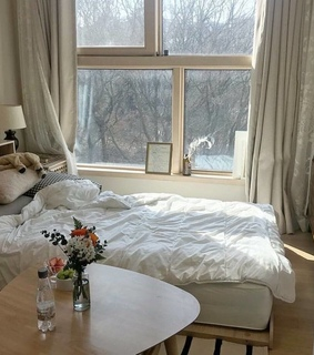 flowers, bed and vase