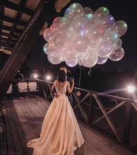 white dress, balloons and elegant