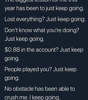 lesson and keep going
