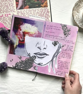 pink, sketch book and journal spreads