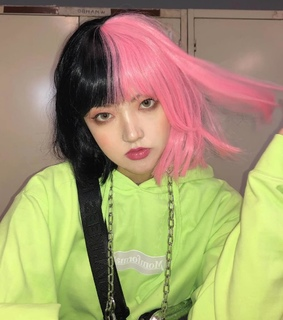 alt, emo hair and pink and black