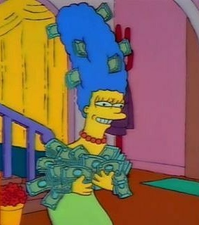 simpsons, aesthetic simpsons and money
