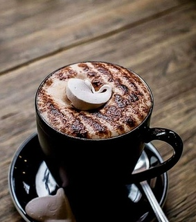 black cup, coffe and tasty